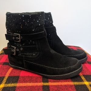 G by Guess 9.5 Black Suede Sequined Boots